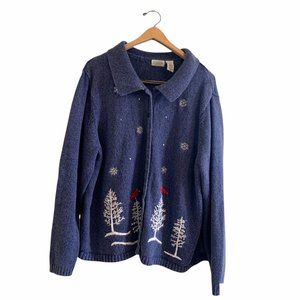Classic Elements Vintage Christmas Holiday Grandmacore Button Front Sweater Plus